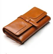 Ретро масло воск кожаный бумажник женщин с длинными корейских милые пр